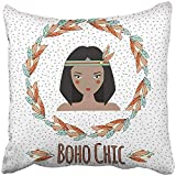 Throw Pillow Covers Decorative Cases Boho Indian Girl and Feather Wreath in Style Tribal Ethnic Chic Inspirational 18x18 Inch Cover Cushion Pillowcase Square Case Print