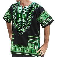 RaanPahMuang Brand Unisex Bright African Black Dashiki Cotton Shirt, X-Large, Black Green