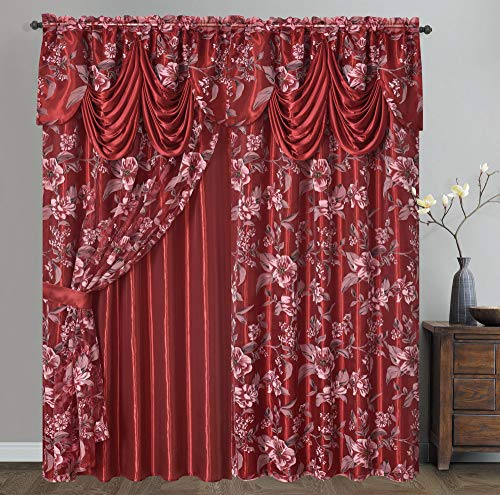 GOHD Golden Ocean Home Decor Roman Romance. Burnt-Out Printed Organza Window Curtain Panel Drape with Attached Fancy Valance and Taffeta Backing (Wine, 55 x 84 inches + Attached Valance x 2pcs) (Roman Home Decor)