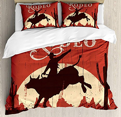(Vintage 4 Piece Bedding Set Full Size, Rodeo Cowboy Riding Bull Wooden Old Sign Western Wilderness at Sunset Image, Duvet Cover Set Quilt Bedspread for Childrens/Kids/Teens/Adults, Redwood)