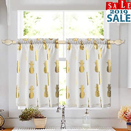 Oremila Tier Curtains For Kitchen Windows Pineapple Cafe Curtains Metallic Printed Small Curtain Panels For Bathroom Rod Pocket 28 X 24 X2 1