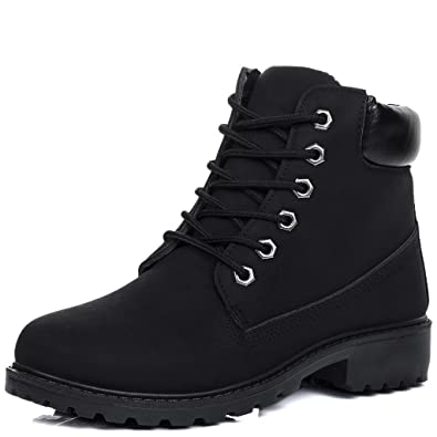 ffa35966d77e Lace Up Cleated Sole Flat Combat Worker Walking Ankle Boots Shoes Black  Leather Style Sz 3