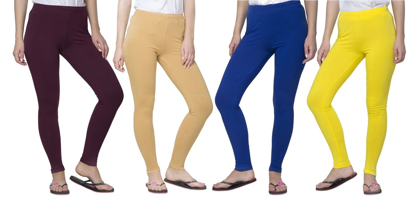 Clifton Women's Cotton Spandex Fine Jersey Leggings Pack Of 4-Assorted-7-4XL