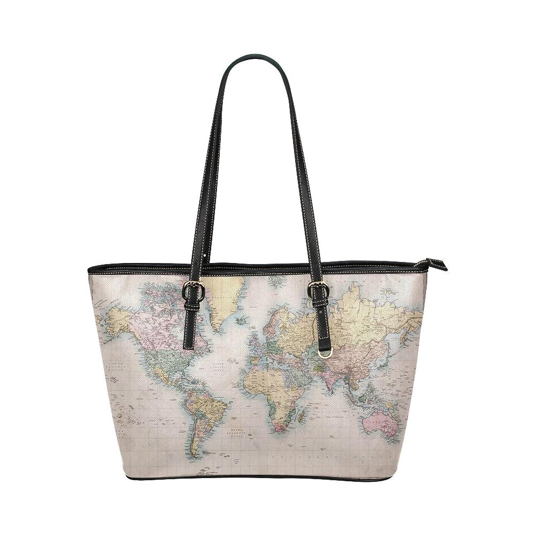 Retro World Map Women's PU Leather Large Tote Bag/Handbag/Shoulder Bag