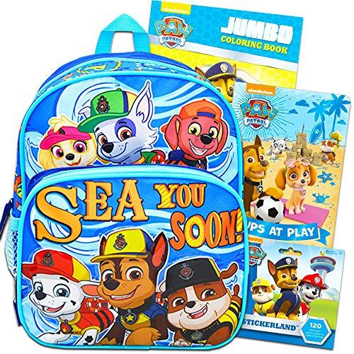 Paw Patrol Toddler Preschool Backpack 10 inch Mini Backpack Bundle with Coloring Book, Board Book, and Paw Patrol Stickers (Paw Patrol School Supplies) ()
