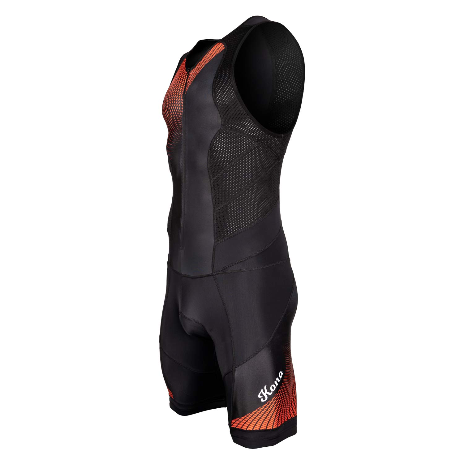 KONA Tri Apparel Youth Triathlon Race Suit - Speedsuit Skinsuit Trisuit Sleeveless - One-Piece Vest and Short Combo That Half zips with a Rear Pocket for Storage (Red Graphics, Youth 8)