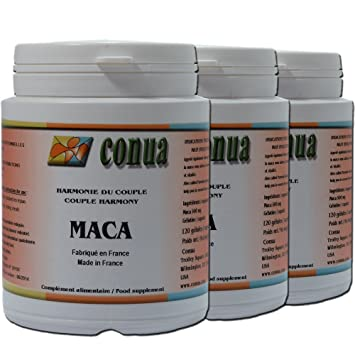 Lot de 3 botellas Maca Root agricultura Saine 500 mg 120 Cápsulas SOIT 3000 mg por
