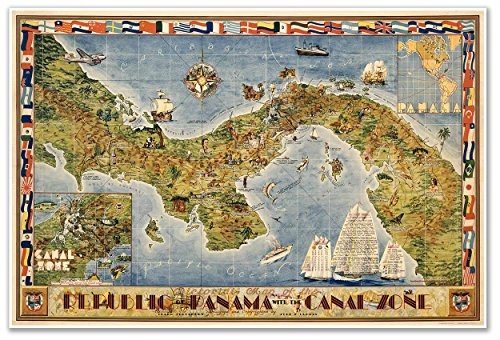 Pictorial Map of the Republic of Panama with the Canal Zone - circa 1941 - measures 24