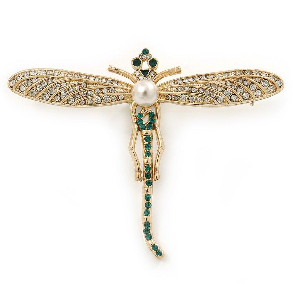 Avalaya Clair, Vert Cristal Autrichien, Perle Broche Libellule en plaqué Or–70mm de diamètre
