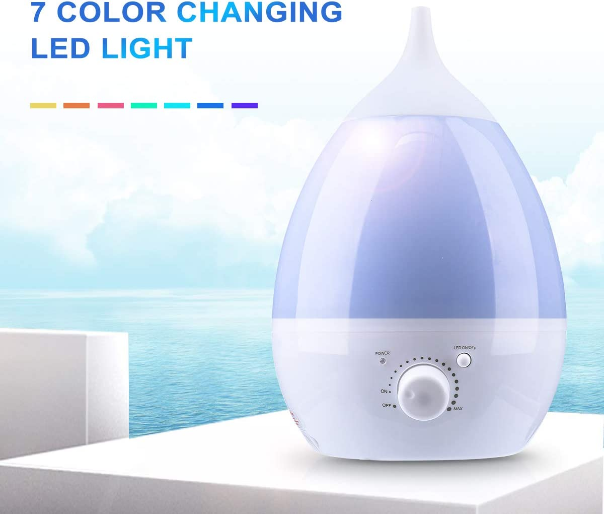 Janolia Cool Mist Humidifier, 1.3L Ultrasonic Air Humidifier, with Essential Oil Tray, 7 Colors LED Night Light, for Home, Office, Yoga, Reading Blue