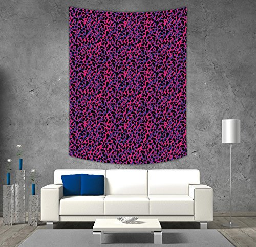 iPrint Polyester Tapestry Wall Hanging,Jungle,80s Style Vintage Leopard Skin Radiant Colors African Tiger Safari,Royal Blue Hot Pink Black,Wall Decor for Bedroom Living Room Dorm - Radiant Rod Pocket