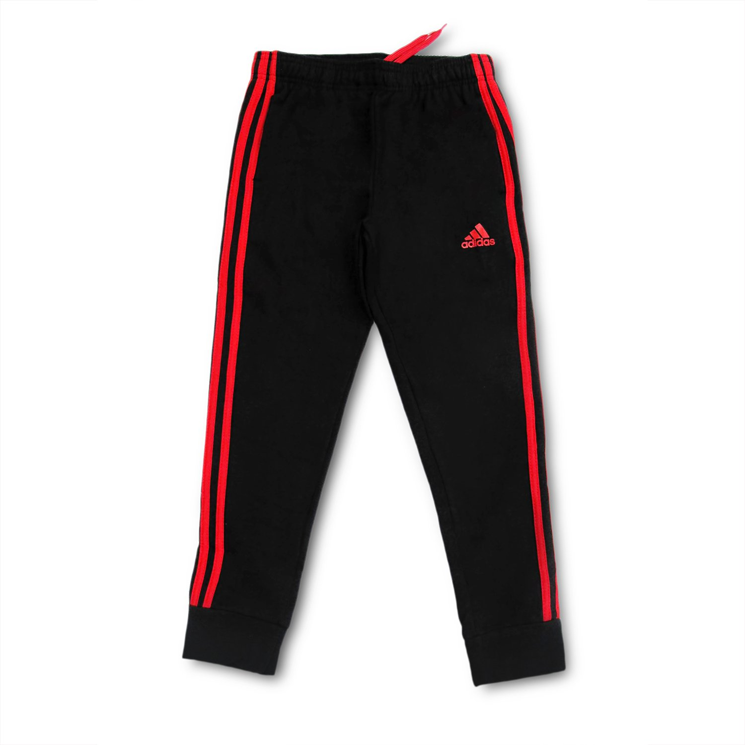 Outerstuff adidas Youth Fleece Collection (Youth Xlarge 18/20, Tapered Hem Sweatpants, Black/Scarlet)