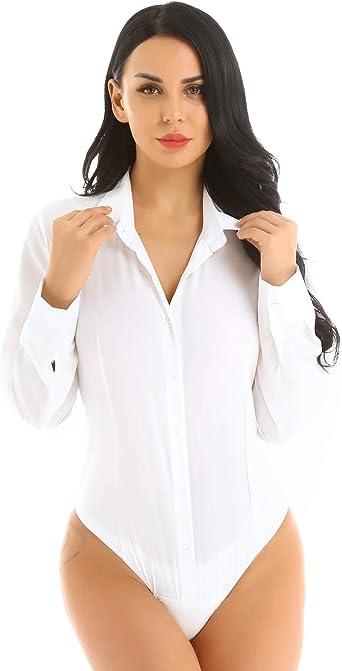 dPois Body Camisa para Mujer Blusa Manga Larga Bodis Camiseta Color Sólido Mono Bodycon Elegante Traje Formal Oficina Negocio Una Pieza Maillot Bodysuit Shirt 2019: Amazon.es: Ropa y accesorios