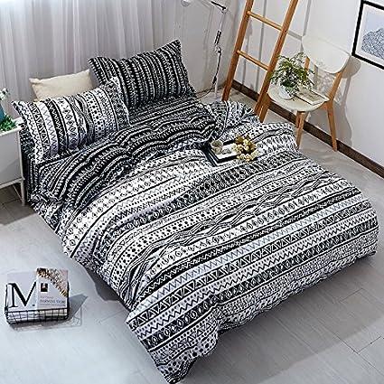 YOUSA 3 Piece Black White Striped Bedding Set Geometric Duvet Cover With 2  Pillow Shams