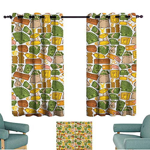 WinfreyDecor Money Bedroom Windproof Curtain Colorful Symbols of Richness Wallet Credit Card Icons of Money Dollar Pound Signs Privacy Protection 55