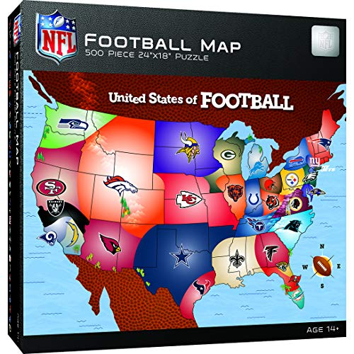 MasterPieces NFL USA Map Jigsaw Puzzle, United States of Football, 500 Pieces (Fans For Sports Gifts)