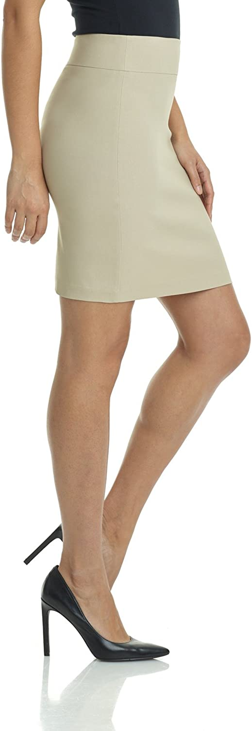 Rekucci Womens Ease Into Comfort Above The Knee Short Stretch Pencil Skirt