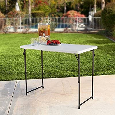 Lifetime 4 ft. Rectangle Light Commercial Fold-In-Half Adjustable Folding Table - White
