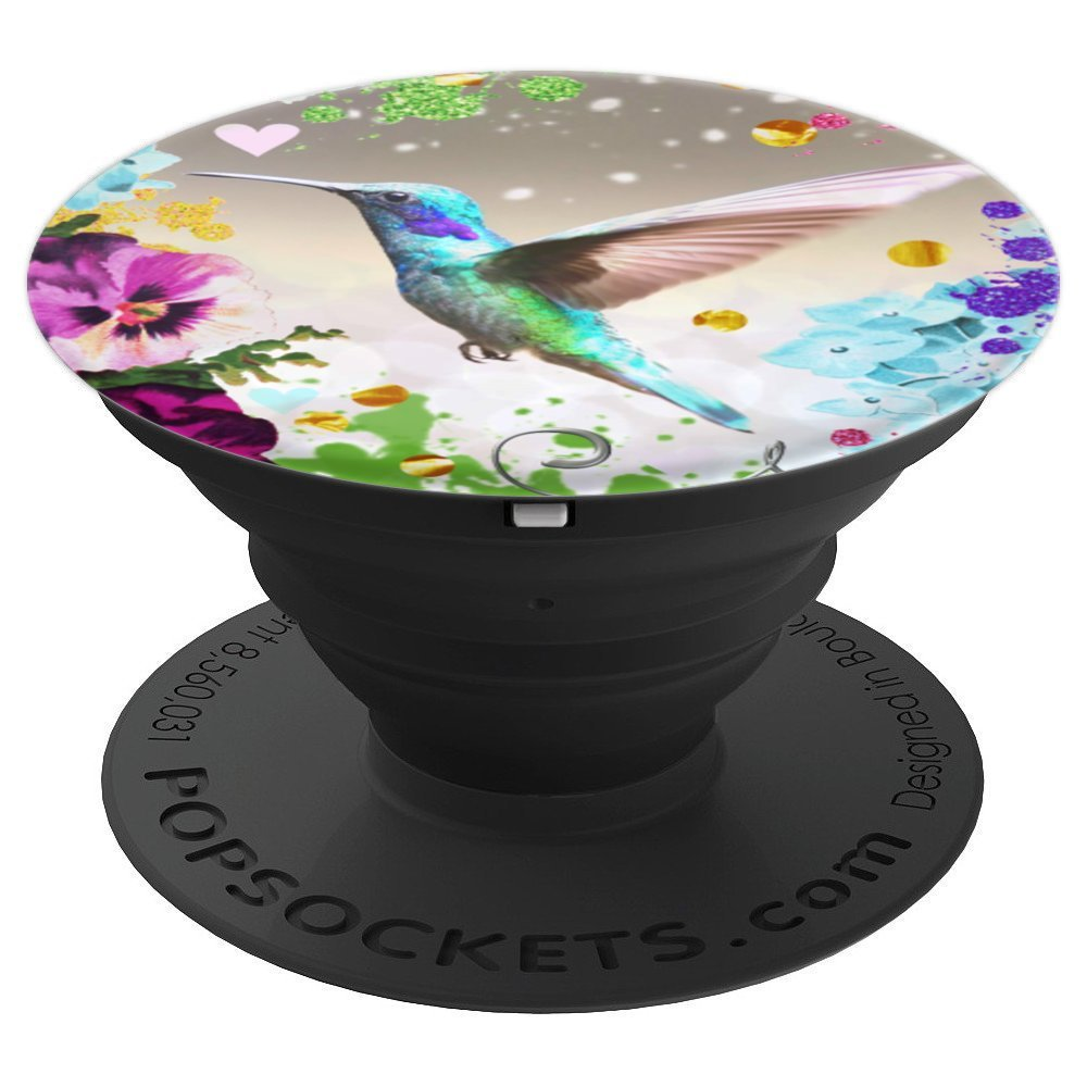 Hummingbird blue green humming bird with flowers arty floral - PopSockets Grip and Stand for Phones and Tablets