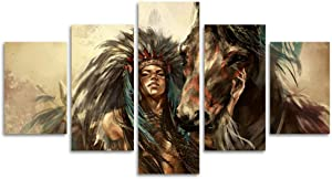 "Large Ancient Native American Painting on Canvas 5 Piece Wall Art Retro Indian Chief Painting Mystic Pictures Print For Home Decor Framed for Living Room Giclee Stretched Ready to Hang(40""W x 20""H)"