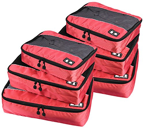 Travel Packing Organizers - Clothes Cubes Shoe Bags Laundry Pouches For Suitcase Luggage, Storage Organizer 6 Set Color Red by TRAVELIN
