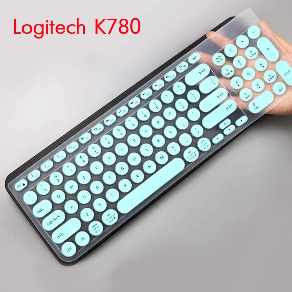 2Pcs Lapogy Keyboard Cover Skin for Logitech MK120 K120,Logitech MK120 K120 Accessories Ultra Thin Silicone Keyboard Protector Skin Mint+Clear