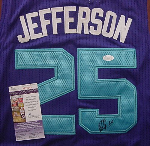 Al Jefferson Charlotte Hornets Autographed Purple #25 Jersey Size XL JSA COA