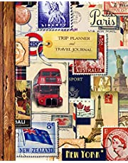 """Trip Planner & Travel Journal: Vacation Planner & Diary for 4 Trips, with Checklists, Itinerary & more [ Softback Notebook * Large (8"""" x 10"""") * Vintage Collage ]"""