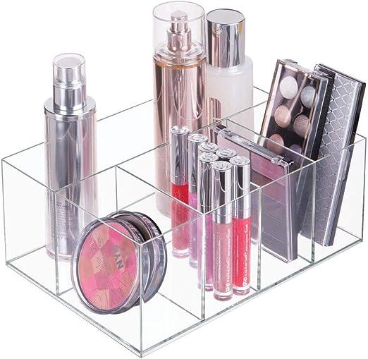 mDesign Organizador de maquillaje – Caja transparente con 5 ...