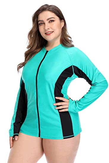 32e83ba2be Vegatos Women Plus Size Zip Rash Guard Shirts Long Sleeve UV Swim Tee Aqua  Navy