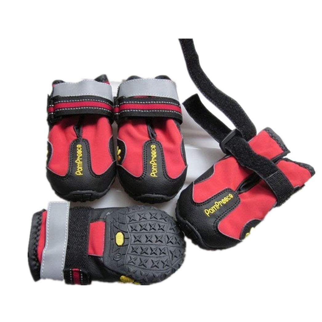 RED L RED L SENERY Pet Dog shoes Boots,Waterproof Fabric Pu Leather 4Pcs Dog shoes Outdoor Sport shoes Predect