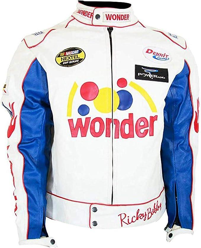 Spazeup Ricky Racing White Bobby Leather Jacket