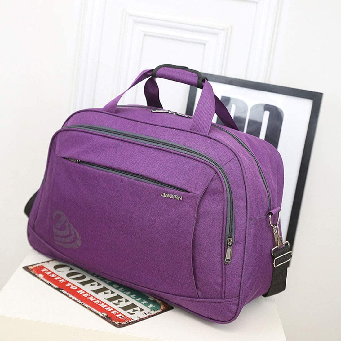 Color : Purple, Size : L AIYAMAYA Nylon Travel Bag Shoulder Diagonal Travel Bag Hand Bag Waterproof Handbag Large Capacity Storage Bag