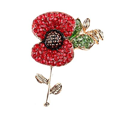 Amazon stunning rhinestone poppy flower brooch lapel badge stunning rhinestone poppy flower brooch lapel badge brooches pins mightylinksfo