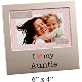 i love my auntie brushed silver 6 x 4 picture frame by haysom interiors
