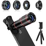 Phone Camera Lens, MACTREM 4 in 1 Cell Phone Lens Kit – 20x Zoom Telephoto Lens, 205° Fisheye Lens, 0.5x Wide & 25X Macro Lens, Clip, Phone Holder, Flexible Mini Tripod for iPhone Samsung Smartphones.