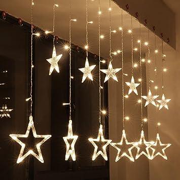 Amazoncom Zology LED Star Curtain String Light LED Fairy - Star string lights for bedroom