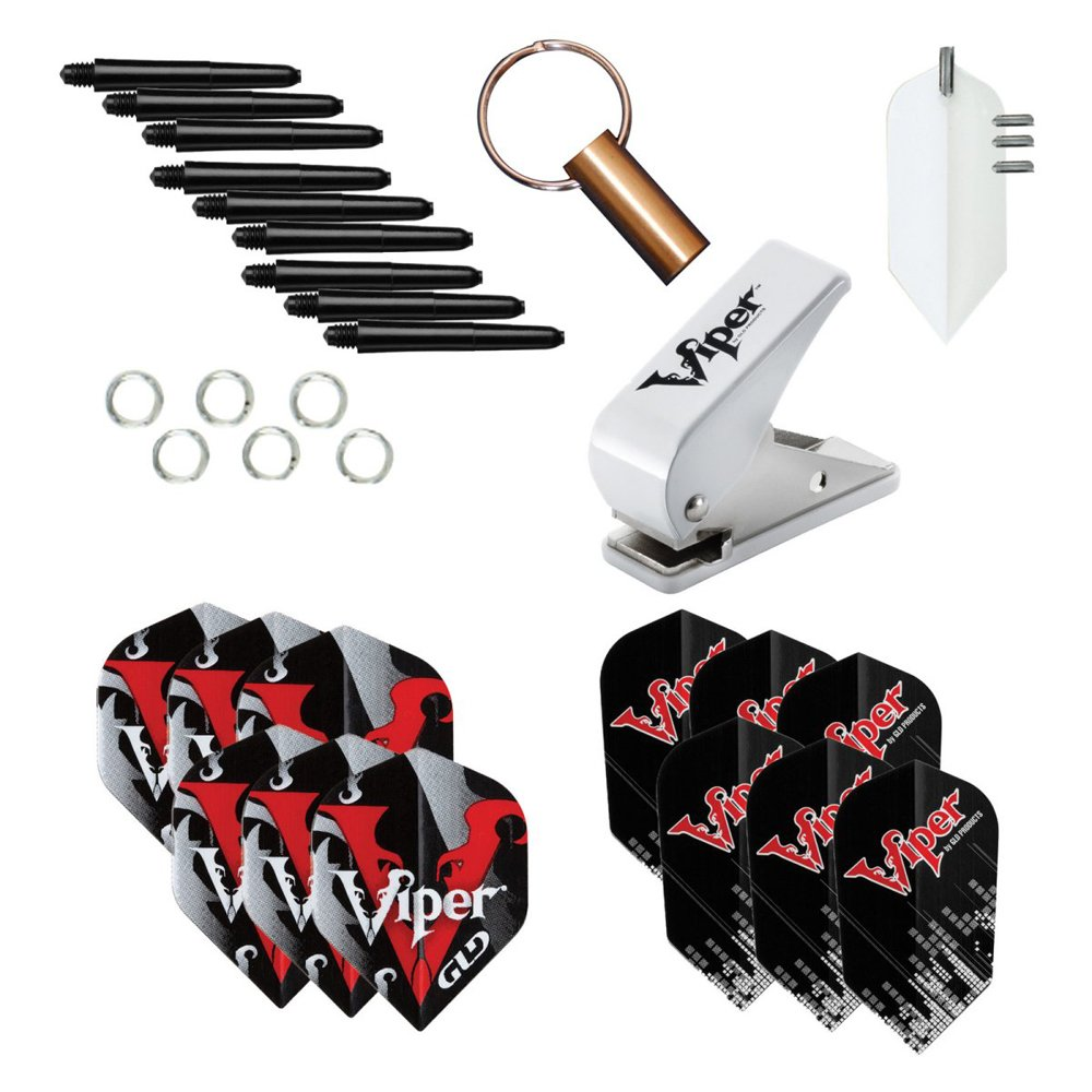 Viper Dart Accessory: Flight Hole Punch Tool with Assorted Poly Pro Flights (Steel and Soft Tip Darts)