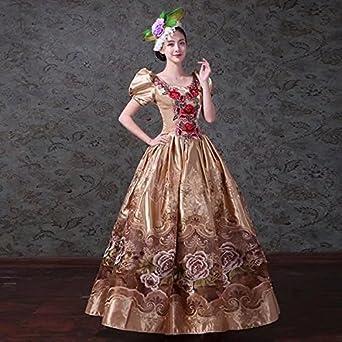 d2af638b2ceec Amazon.co.jp:  ノーブランド品  大花柄ドレス オペラ声楽 中世貴族風 ...