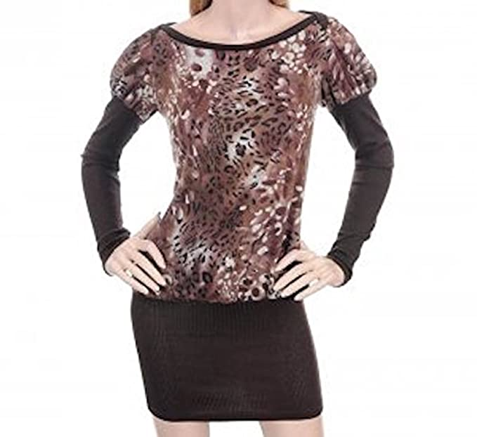 2cfbc41202 Princess Sleeve Leopard Print Sweater Dress (s) at Amazon Women s ...