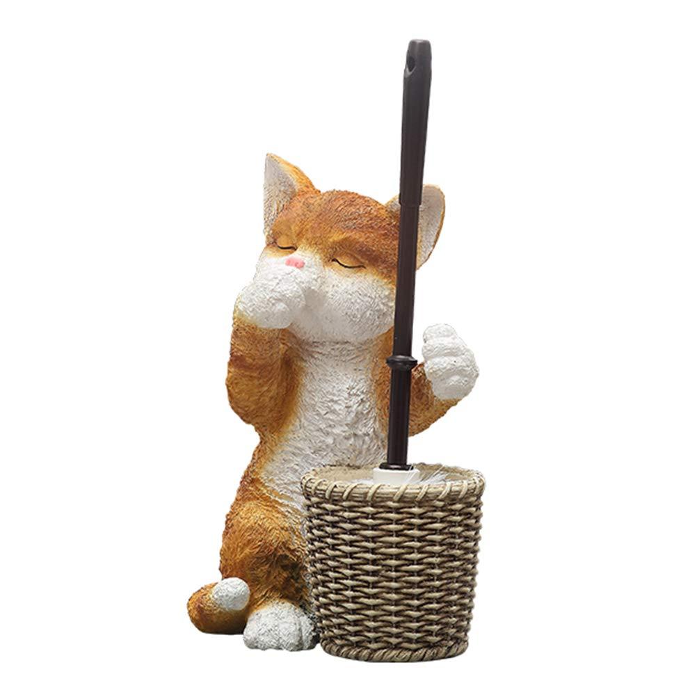 天使の家 トイレブラシホルダー動物モデリング猫、樹脂フリースタンディングトイレブラシセットトイレスクラバーセット用浴室トイレ   B07S87579K