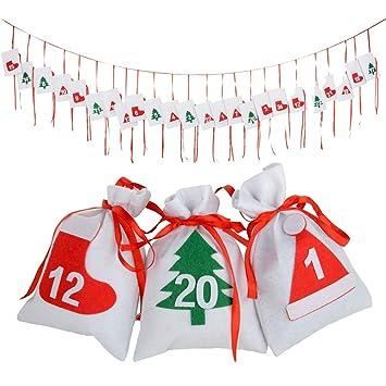 Weihnachtskalender Erwachsene.Longcmall Adventskalender 2018 24 Beutel Zum Befüllen Diy Weihnachtskalender Für Kingder Erwachsene 16 X 11cm