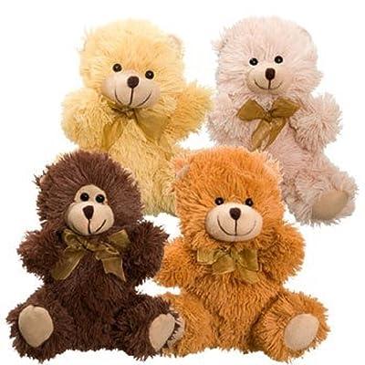 4 Cuddly Cousins Plush Sitting Stuffed Bears 7 Brown Tan Beige Rusty Copper: Toys & Games