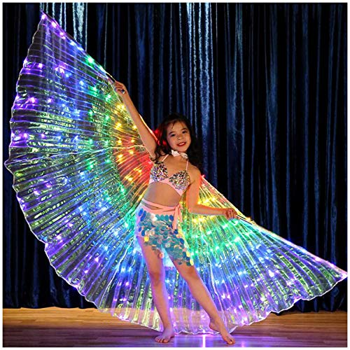 Glowing Isis Wings Cloak, Children Toddlers Kids Upgrade LED Butterfly Wings,360 Degree Belly Dance Costume Colorful Isis Wings (LED Wings+Telescopic Sticks) -