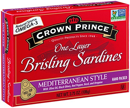 Crown Prince One Layer Brisling Sardines - Mediterranean Style, 3.75-Ounce Cans (Pack of 12)