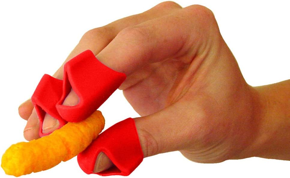 Finger Covers for Cheesy, Greasy, Sticky Fingers – Finger Food Utensil – Kitchen Prep Finger Guard (3ct Red)