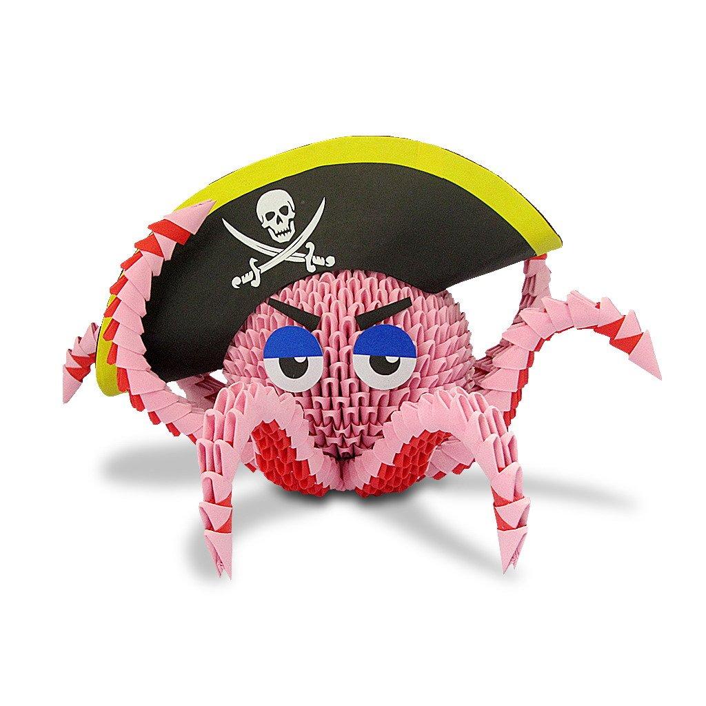 3d Modular Origamiかわいい海賊カリブのオクトパス/イカ、ハンドメイドペーパーアート装飾   B072M2C36C