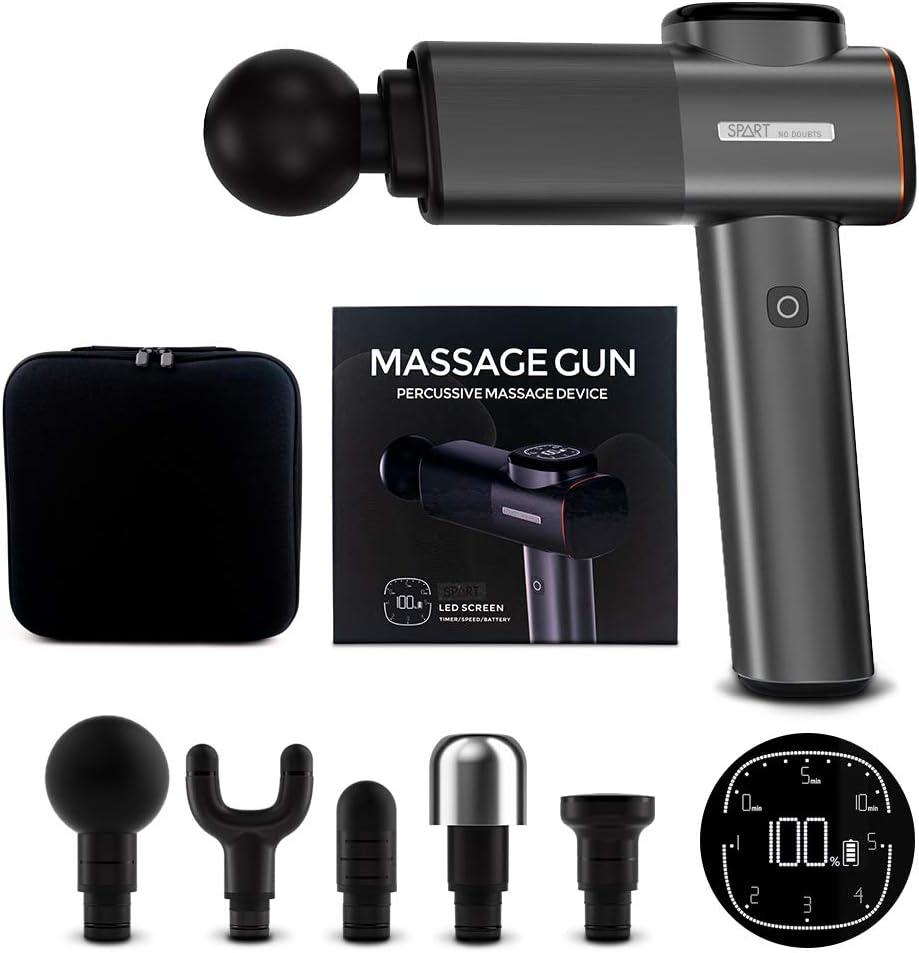 SPART 2500mAh Deep Tissue Massage Gun with 5 Head Attachments $46.24 Coupon