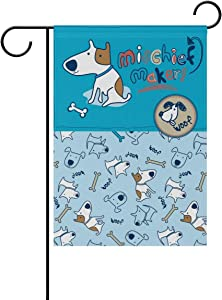 fudin Cute Cartoon Dog Bone Pattern Garden Flag Home Outdoor Patio Seasonal Holiday Fabric 12x18 inch Wedding Anniversary Garden Flag