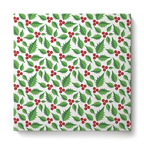 Libaoge Canvas Printing Wall Art - Christmas Festival Winter Holiday Xmas Holly Fruit Paintings for Home Kitchen Decor Gallery Wraps Giclee Print & Wood Framed Ready to Hang - 24